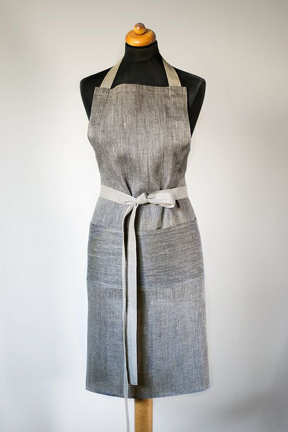 41 Linen Aprons Unisex Full Apron Natural Gray With Black Apron Men Apron With One Big Pocket Traditional Apron Eco Friendly Apron