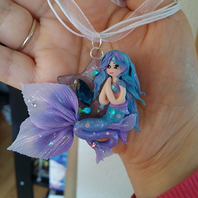 Mermaid necklace charm. Will be available on my etsy soon. #charm #polymerclay #mermaid #necklacecharm #necklace #handmade #sculpture #fantasy #polymerclaymermaid