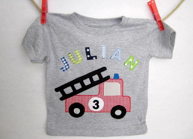T-Shirts - T-Shirt Feuerwehr und Name zum Geburtstag - ein Designerstück von littleVIP bei DaWanda