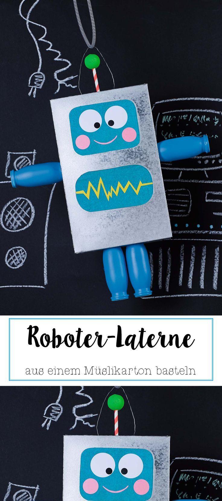 Rudi Roboter Laterne aus einem Müslikarton bastel…
