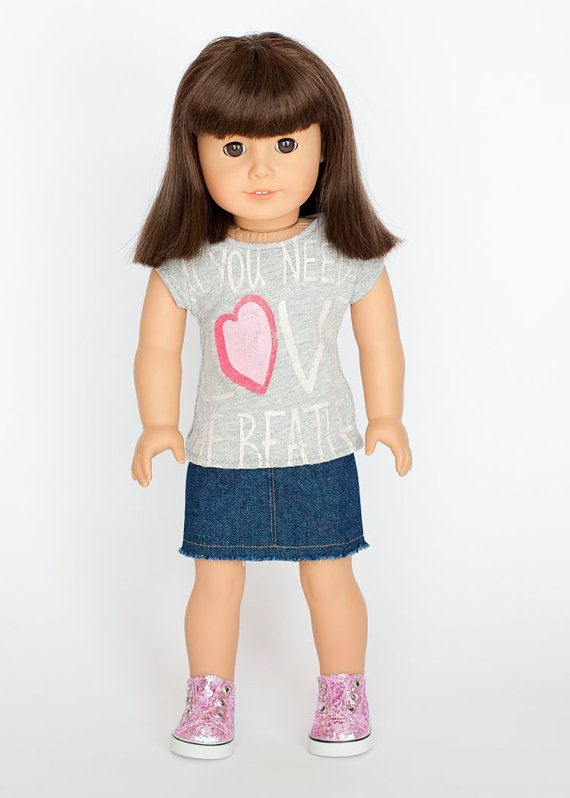 American Girl doll outfit upcycled t shirt with denim mini ...