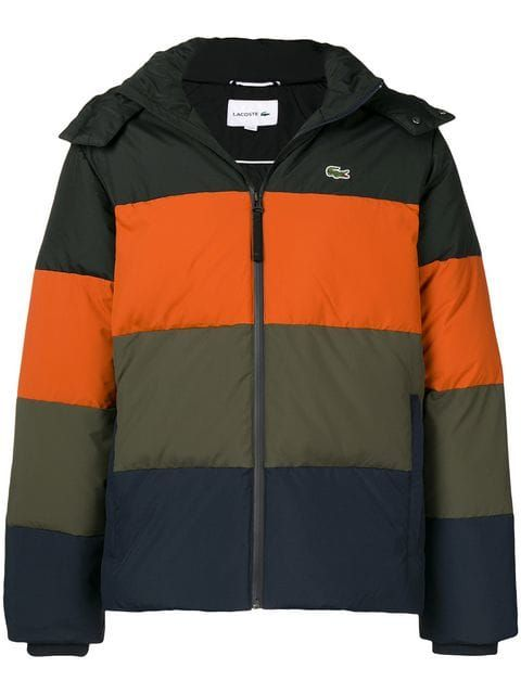 67fc3129efe Lacoste Colour Block Striped Puffer Jacket in 2019 | Clothes ...