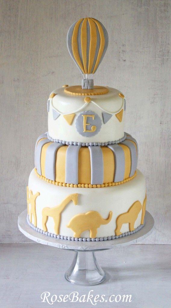 Gray Yellow Circus Hot Air Balloon Animals Cake