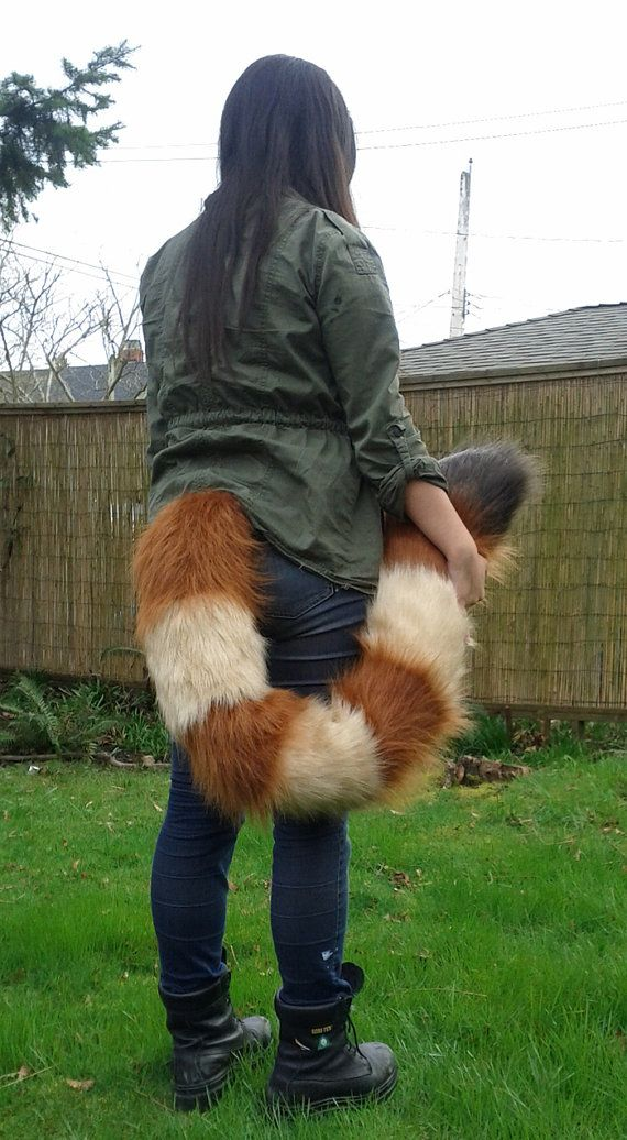 Red Panda Floor Dragging Costume Tail by ShagpokeStudios on Etsy