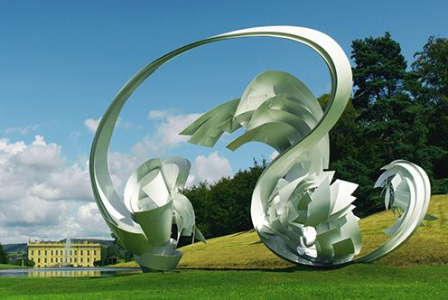 Garden Sculptures Chatsworth: Monumental sculpture by Alice Aycock – 'Hoop La', 2014
