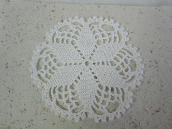 Round Crocheted Cotton Doily Handmade Crocheted White by EKODEKOFI
