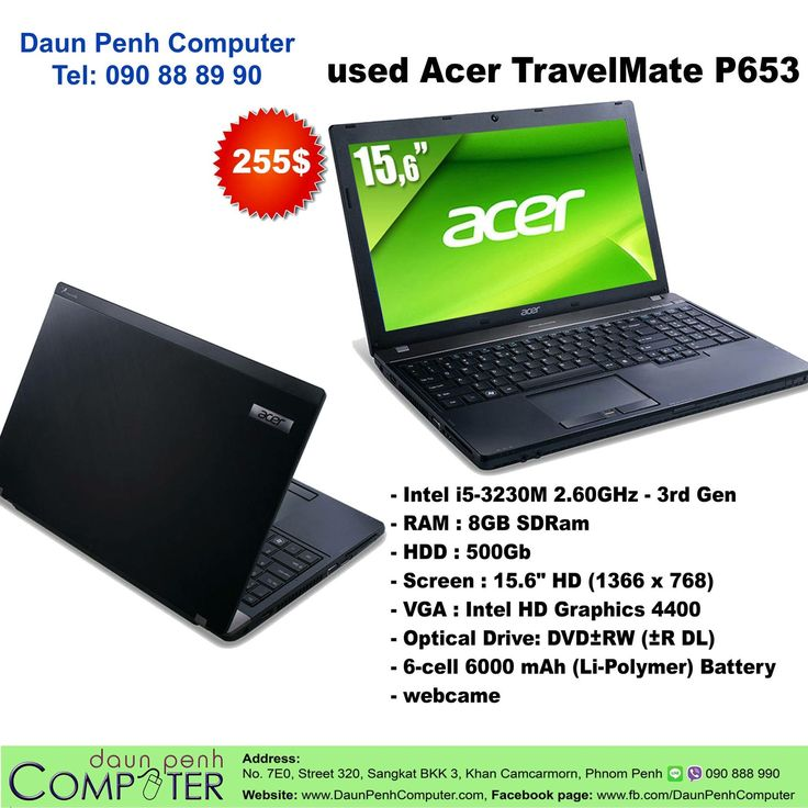 for sale used Laptop Acer TravelMate P653 from Australia Price 255$, Warrantee 1 month