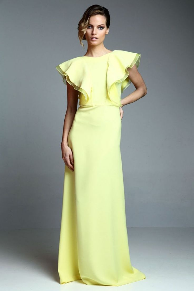 vestido largo fiesta amarillo con volantes de apparentia collection online
