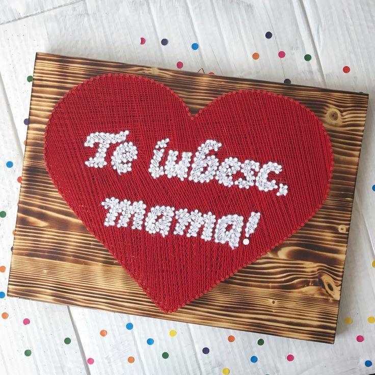 """I love you, mom"" heart string art / decoration  (fb: www.facebook.com/atelierulluighidus)"