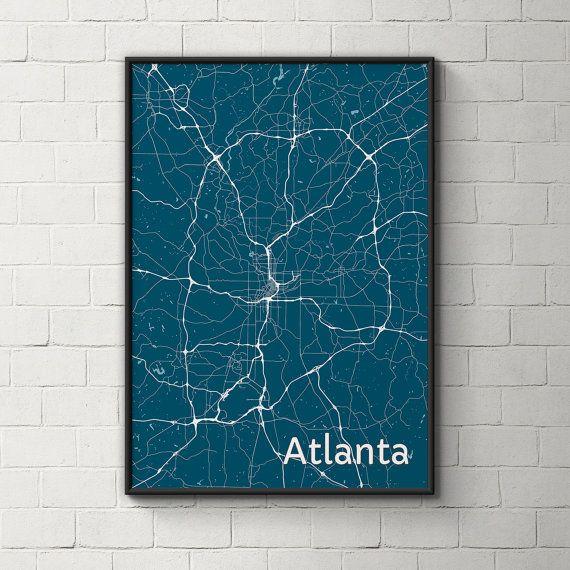 Atlanta Map / Original Artwork / Map Art / Street Map / Atlanta Art / Personalized Color / Wall Art / Home Decor / Birthday Gift