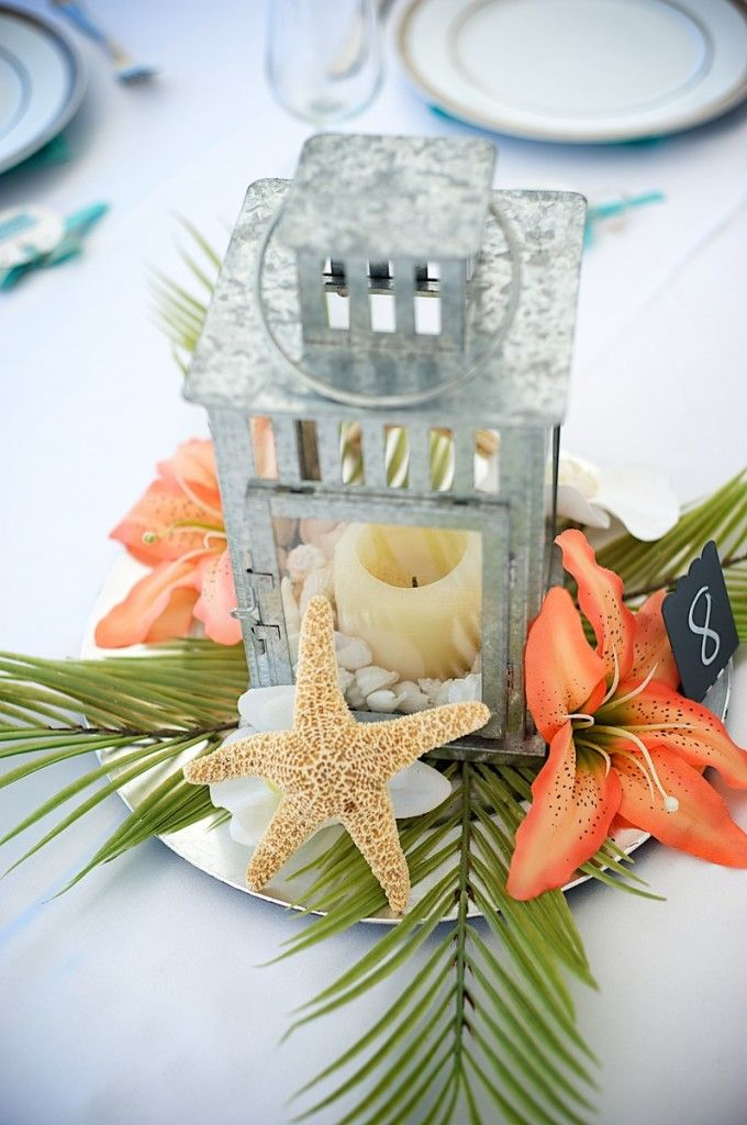 Beach reception centerpiece ideas and décor options offered by Sand Petal Weddings. Complete beach wedding reception packages.