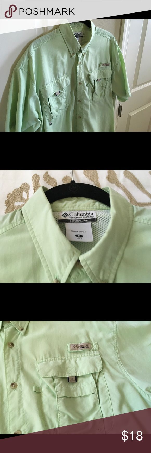 Men's Columbia PFG shirt sleeve shirt Beautiful light green Columbia PFG Omni Shade short sleeve button front shirt great condition size M nice and light fabric Columbia Shirts Casual Button Down Shirts