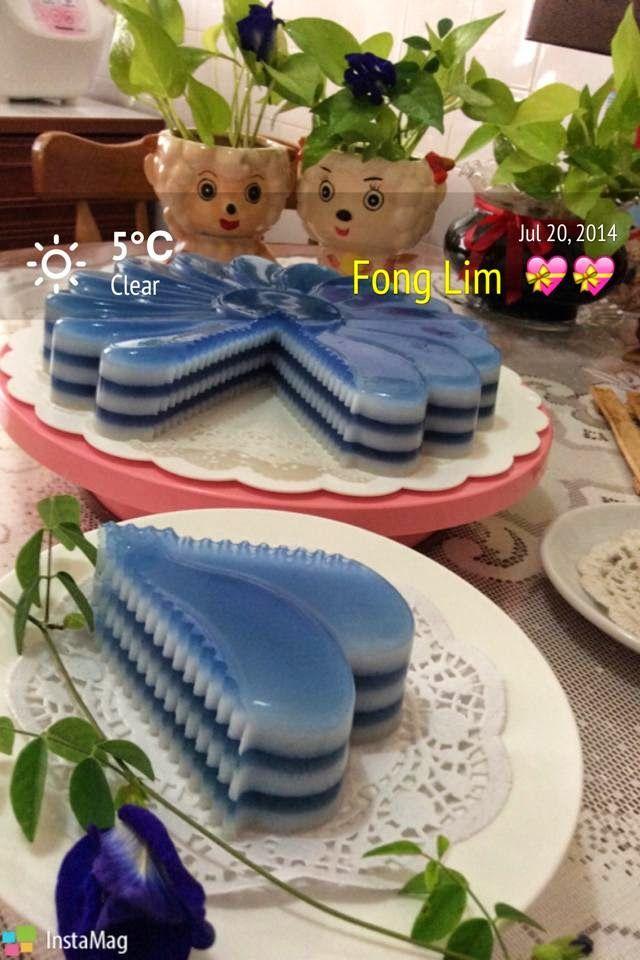 枫林温馨花园   Maple Grace Garden                                                              : ~~  Blue Pea Jelly Cake ❤ 蓝花燕菜蛋糕  ~~