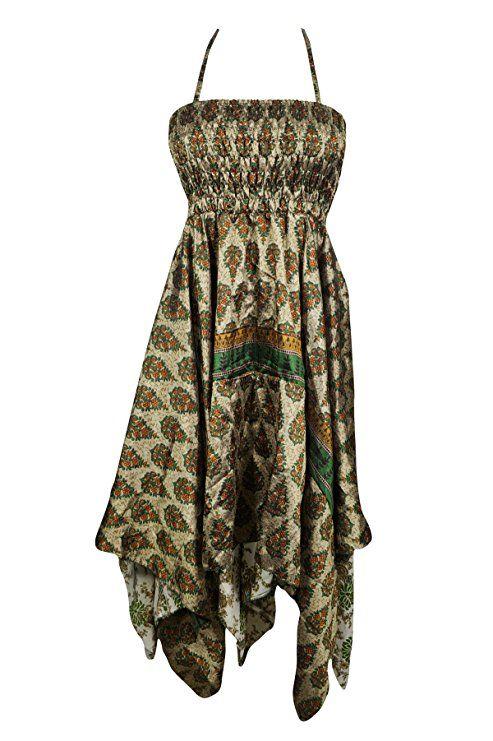 870dc10285 Mogul Interior Women Halter Dress Handkerchief Hem Boho Sleeveless Fashion Dress  Summer Beachwear Sundress (Blue 2) (Green)