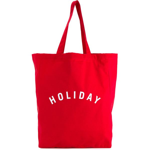 HOLIDAY Logo Print Cotton Tote (€19) ❤ liked on Polyvore featuring bags, handbags, tote bags, evening purse, cotton tote, red purse, lightweight tote and evening handbags