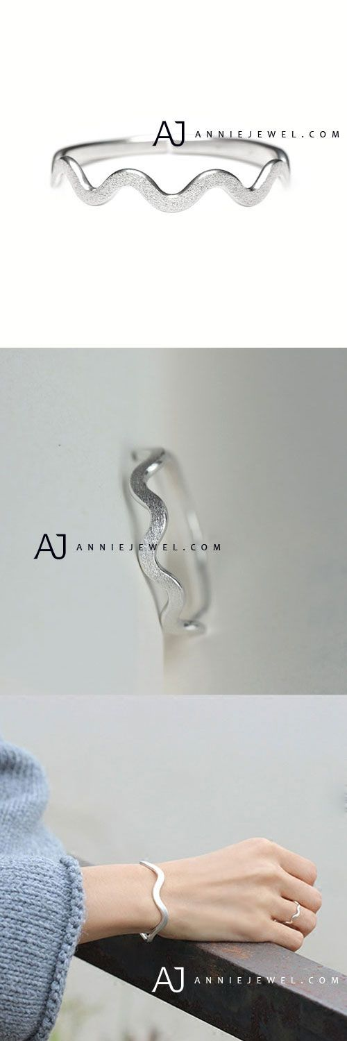 ELEGANT STYLE! SILVER RING BANDS WAVE CURVE RING MINIMAL GIFT JEWELRY