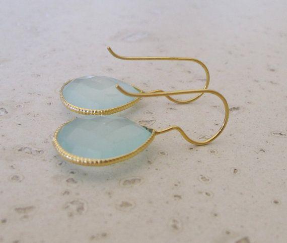 Aqua Chalcedony Earrings Dangle Topaz Earrings by Belesas on Etsy