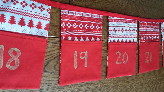 Handmade Christmas Advent Bunting by WrenDesigns2016 on Etsy