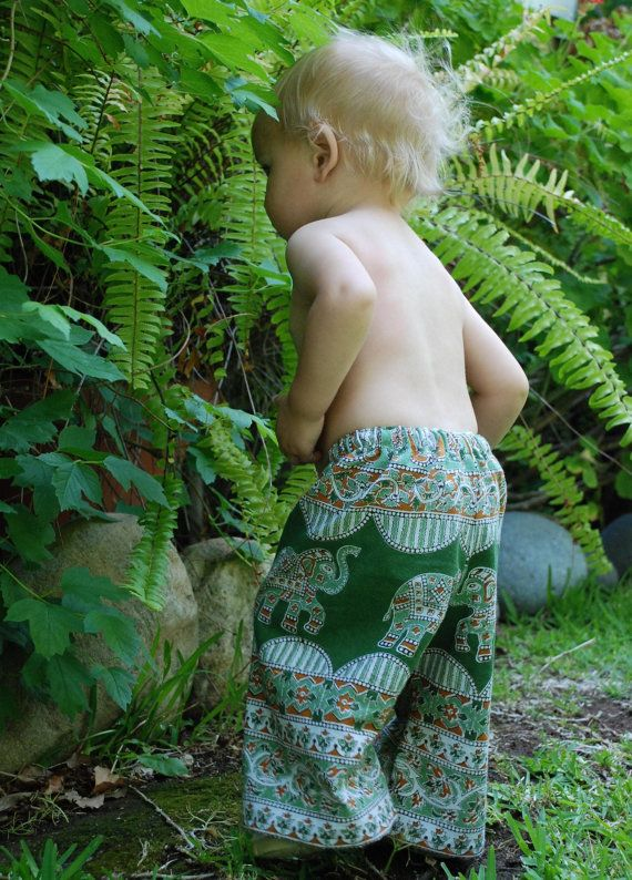 Hippie Pants -Green Rust Elephant  design -Toddler  size 1  - Boys or Girls