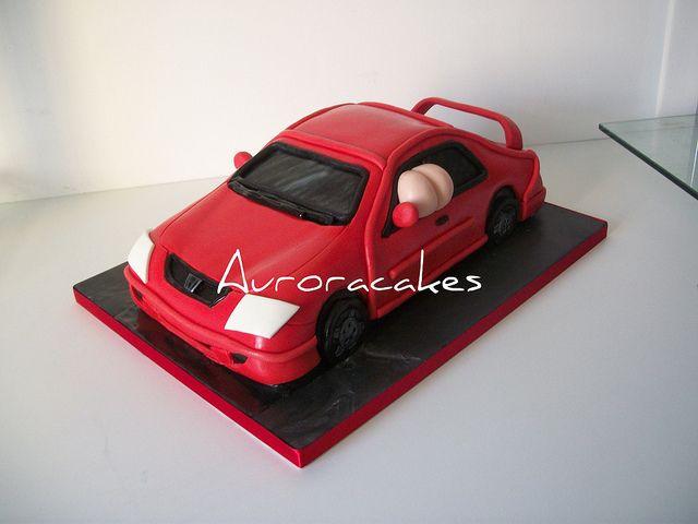 Mooning red honda civic car cake by Pagancakegirl, via Flickr