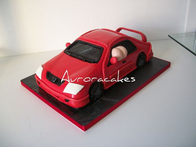 Mooning red honda civic car cake by Pagancakegirl, via Flickr