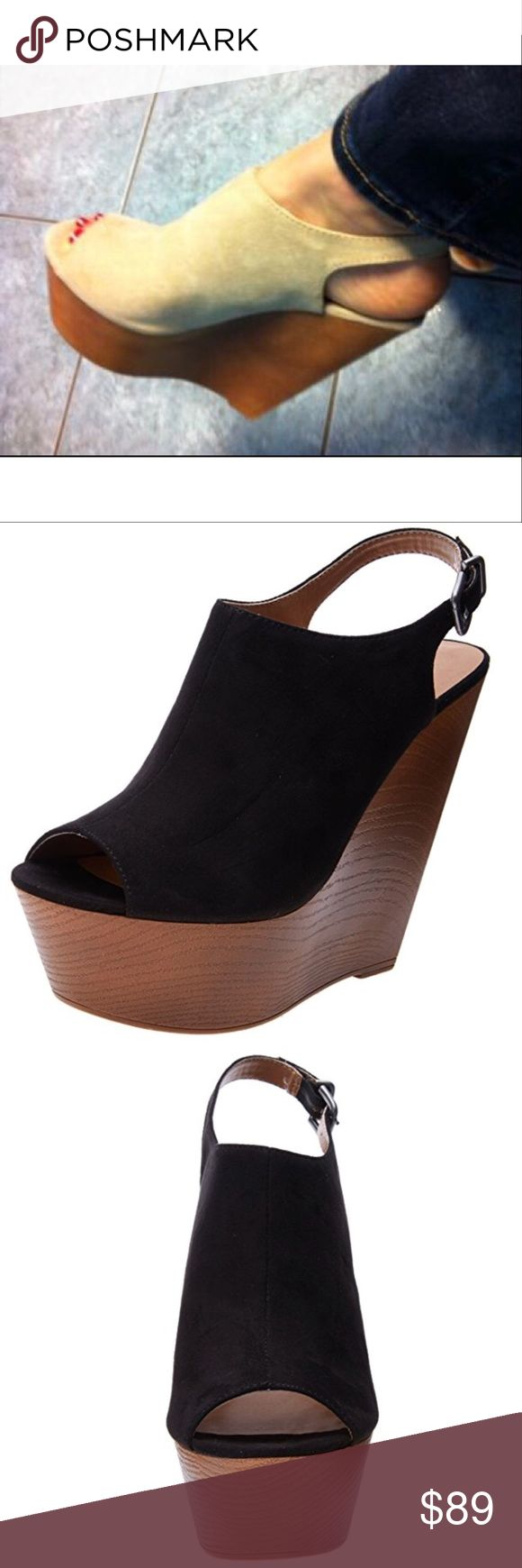 """Black Platform Wedge Slingback Sandal Fabric Upper Imported Heel measures approximately 5.25"""" Platform measures approximately 2.00"""" Color: Black  Width: B(M) Boutique Shoes Platforms"""