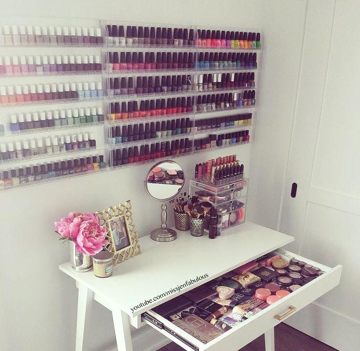 Nail Polish Organization above Makeup Table/Vanity..Well Done!!! <3