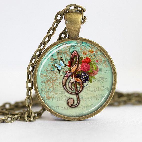 Treble Clef Necklace Pendant Music Jewelry by 30SomethingDesign