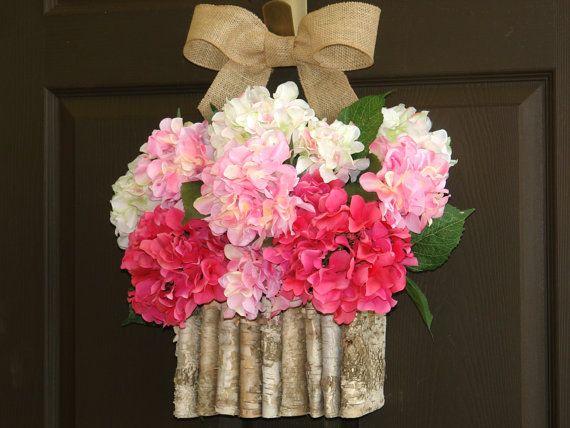 hortênsia primavera grinalda grinaldas verão grinaldas de boas-vindas decorações das portas dianteiras florais recipiente de bétula casca vasos serapilheira arco grinaldas de boas-vindas