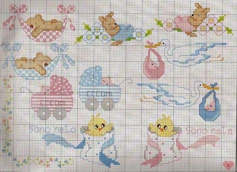 Cross stitch charts for newborns.