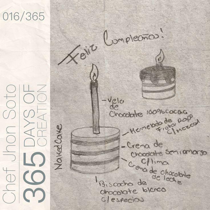 [ 016/365 ] #creativethinkingchallenge  ¡Feliz Cumpleaños!  - Naked Cake:  Bizcocho de Chocolate Blanco c/ Especias  Mermelada de Frutos Rojos c/ Mezcal Crema de Chocolate Amargo c/Lima  Crema de Chocolate de Leche  - Vela de Chocolate 100% Cacao   Un pastel poco inusual para la celebración más importante, sabores combinados en algo tan desnudo como dulce, a celebrar el año que ya no se tiene.