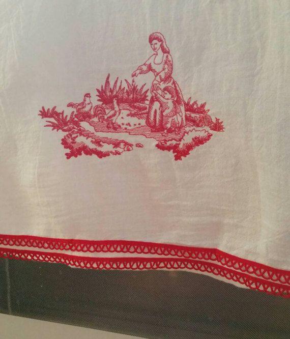 Paño bordado Redwork de Toile en saco de harina blanca toalla
