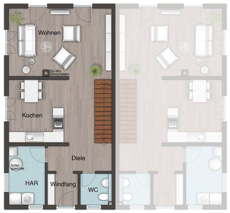#Grundriss Erdgeschoss vom #Doppelhaus Aura 125