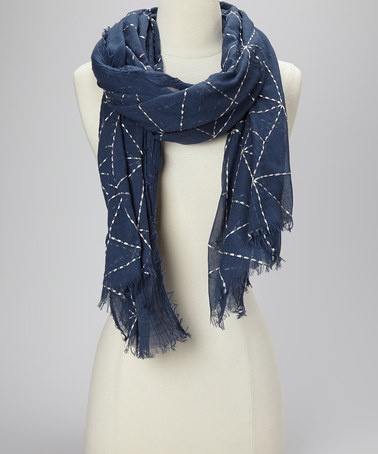Take a look at this Navy Pyramid Embroidered Scarf by Spun Scarves by Subtle Luxury on #zulily today!