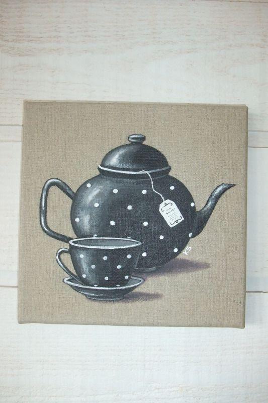Peinture Th I Re Et Tasse Sur Lin Tableaux Peintures Kb Cr Ations Fait Maison Tea