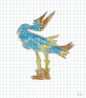 Ilustración arte cigüeña animal