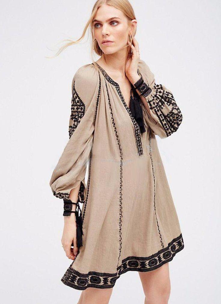 Embroidered Hippie Dress