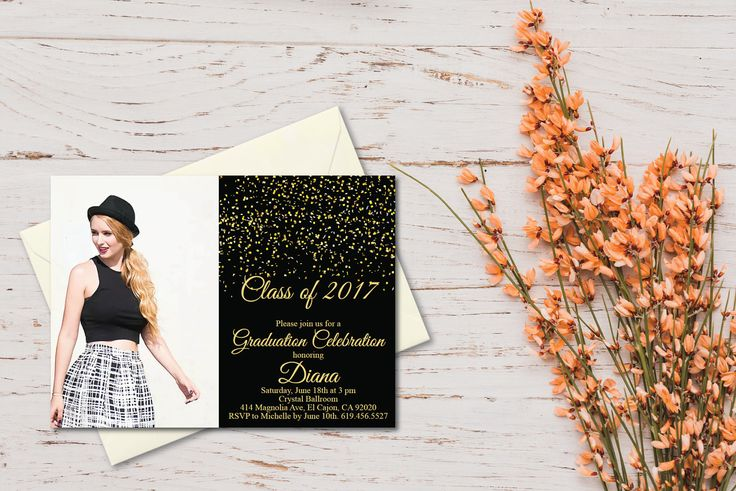 Class of 2017 Graduation Invitation Card (graduation announcement)/Print at Home or E-card/Graduation Invitation Template/Printable by BlessedDayPaper on Etsy