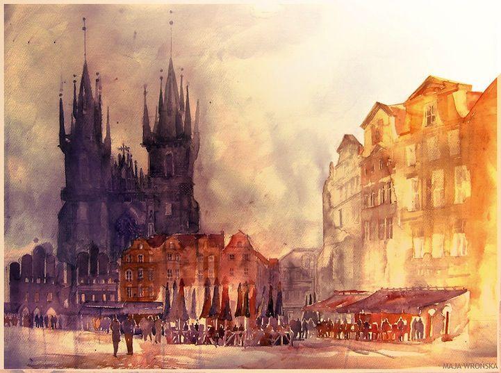 """""""Prague, Czech Republic"""", watercolour #Art, by artist Maja Wrońska."""