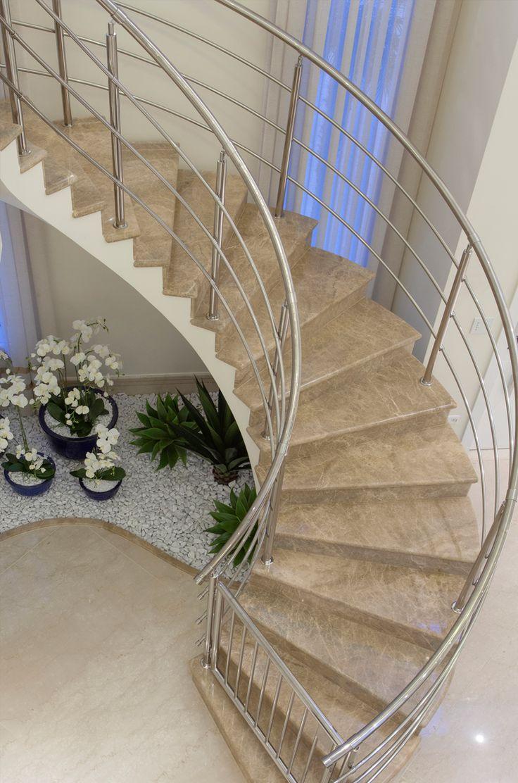 Escada, mármore, corrimão, inox, jardim