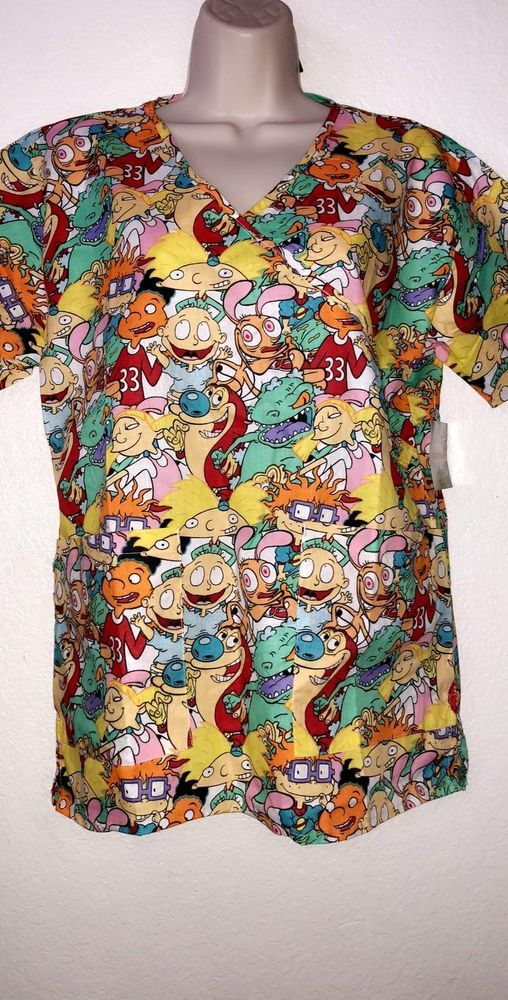 708fed03840 NICKELODEON RUGRATS REN AND STIMPY SCRUBS TOP SIZE S M L XL NEW! | eBay