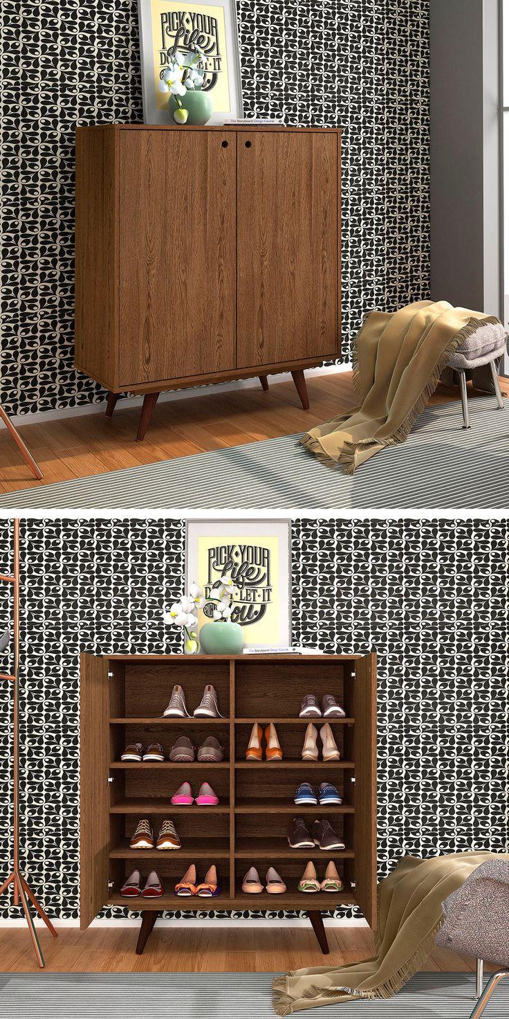 Colocar uma sapateira ao lado da porta de entrada mantêm a casa limpa! Ainda mais esta #sapateira é maravilhosa! #decoração #design #madeiramadeira