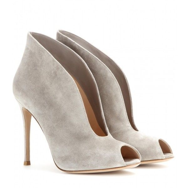 Gianvito Rossi Vamp Suede Peep-Toe Ankle Boots ($640) ❤ liked on Polyvore featuring shoes, boots, ankle booties, heels, booties, ankle boots, grey, grey ankle boots, heeled booties and suede peep toe booties