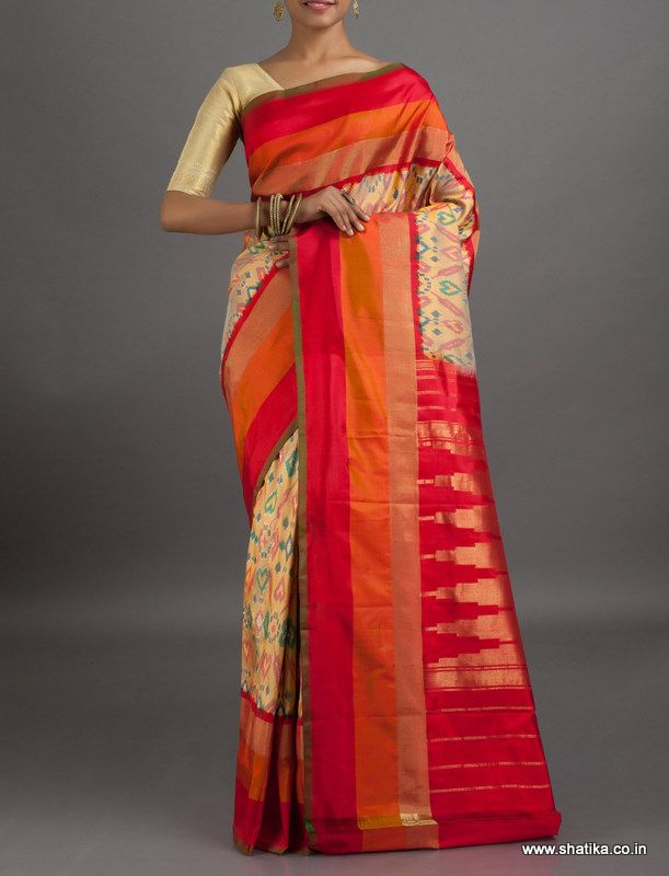 Rajashri Beating Hearts Ikat #PochampallySilkSaree