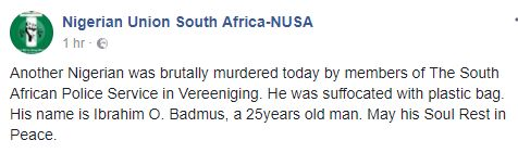 Another Nigerian man allegedly killed by South African policemen http://ift.tt/2y9BjYK