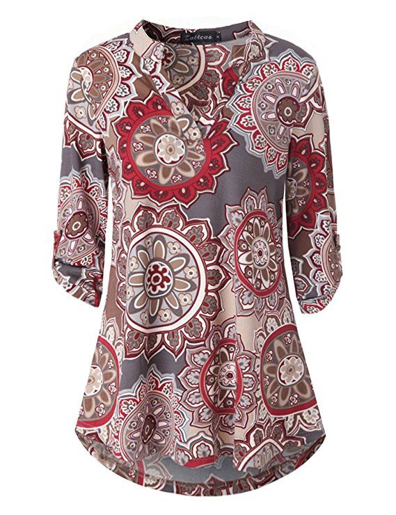 0552e87608f Zattcas Womens Floral Printed Tunic Shirts 3 4 Roll Sleeve Notch Neck Tunic  Top at Amazon Women s Clothing store