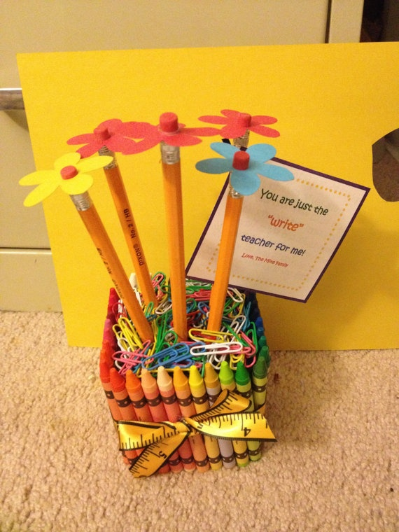 so simple & cheap! dollar store items! a teacher would love this made by her student!