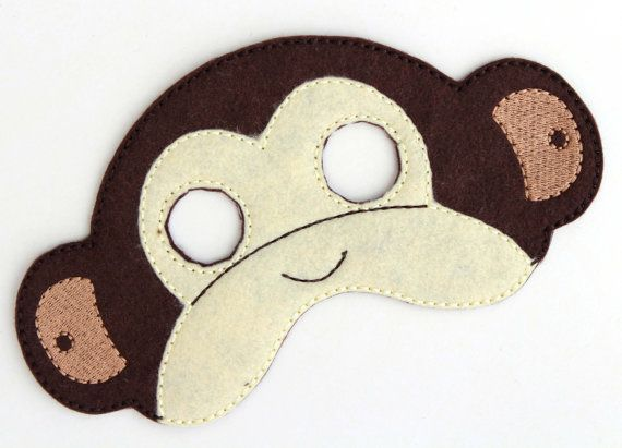 Kids Monkey Mask, Monkey Costume, Felt Mask, Kids Face Mask, Animal Mask, Halloween Costume, Pretend Play, Dress Up, Party Favors, Costume