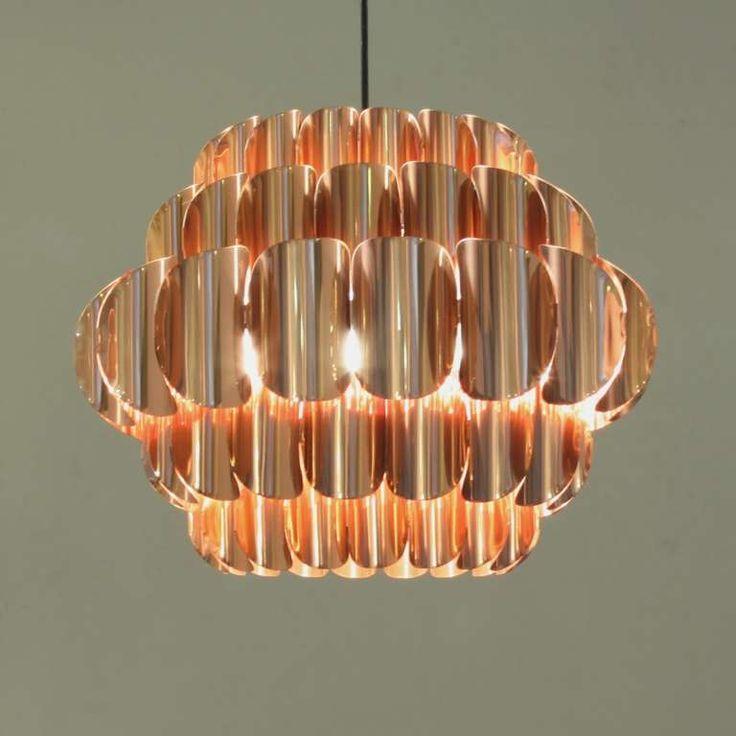 Hans Agne Jakobsson; Copper-Plated Ceiling Light, 1960s.