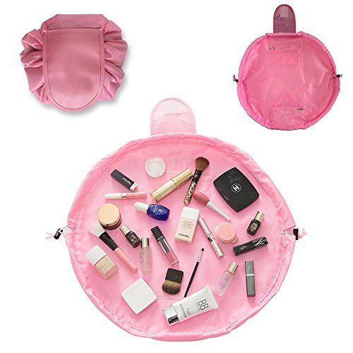 Makeup Bag Toiletry Kit Organizer Portable&Waterproof Large Cosmetic Pouch Fashion Women Jewelry Bathroom Storage with Zipper&Drawstrings Brush Holder Carry on Travel (Pink). For product & price info go to:  https://beautyworld.today/products/makeup-bag-toiletry-kit-organizer-portablewaterproof-large-cosmetic-pouch-fashion-women-jewelry-bathroom-storage-with-zipperdrawstrings-brush-holder-carry-on-travel-pink/